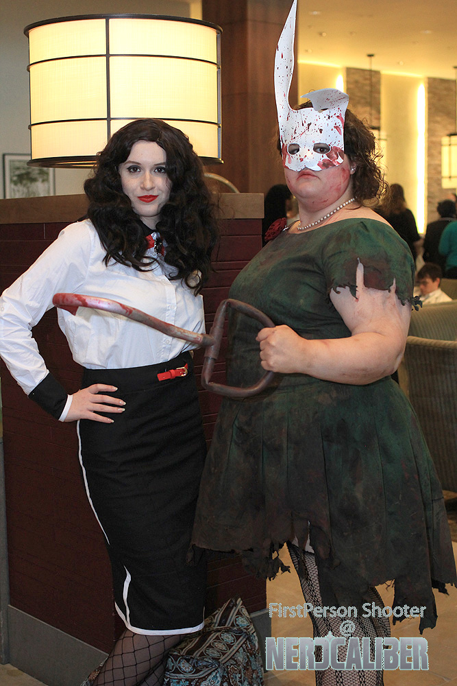 Elizabeth and a splicer from BioShock Infinite: Burial at Sea