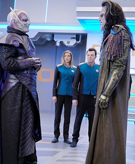 These two alien races go to war because the Orville leaders are under the influence of a date rape chemical and unable to stop them.