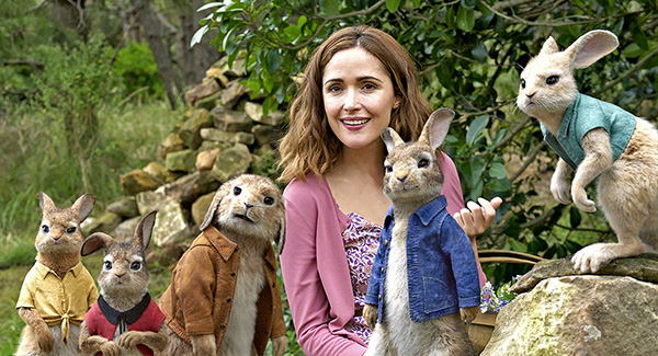 Moira McTaggart and the latest X-Men ... err, Rose Byrne and a gang of rabbit delinquents.